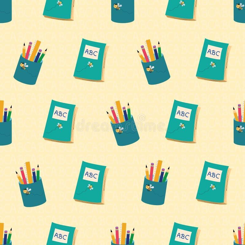 Los libros azules y los lápices diseñan con volver al tema de la escuela Modelo inconsútil del vector en fondo amarillo texturiza ilustración del vector