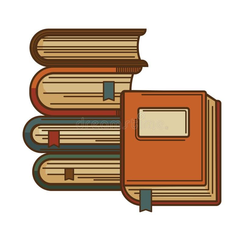 Los libros con las señales vector el icono para la literatura de la poesía o el diseño de la biblioteca de la librería y de la li stock de ilustración