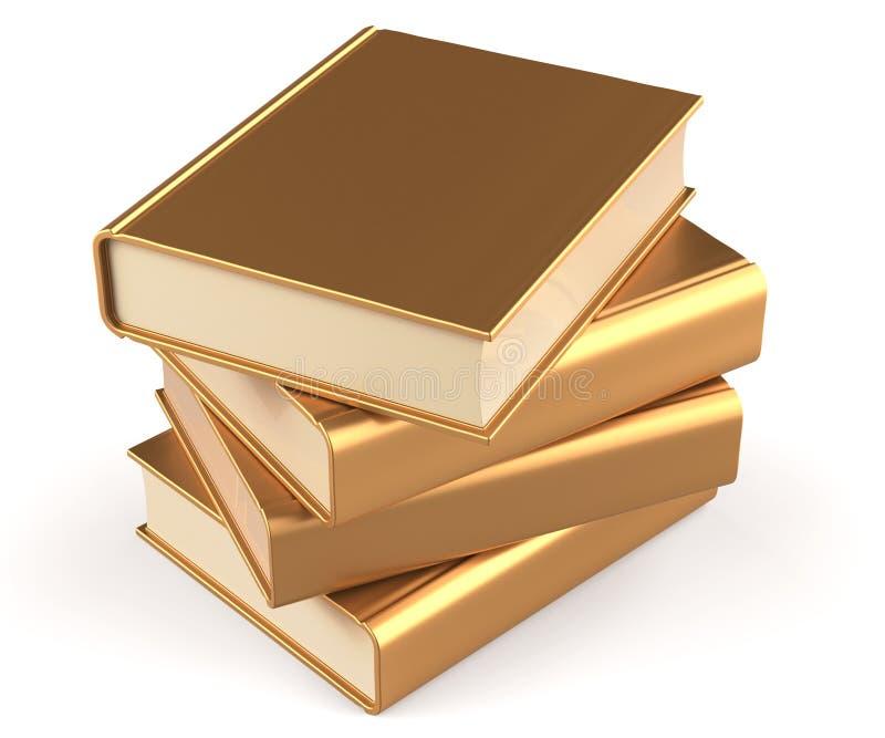 Los libros de texto de los libros apilan el oro cuatro de oro amarillos en blanco libre illustration