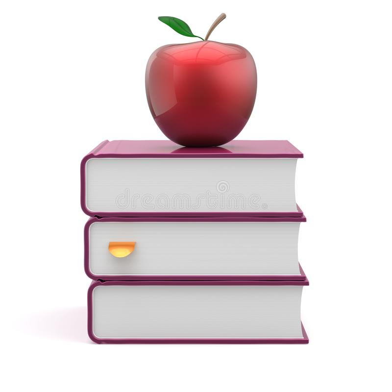 Los libros de texto de las cubiertas de espacio en blanco de los libros apilan la manzana púrpura y roja stock de ilustración
