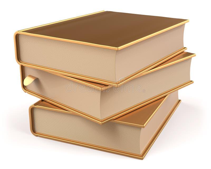 Los libros de texto de oro del espacio en blanco del oro amarillo de los libros apilan tres libre illustration