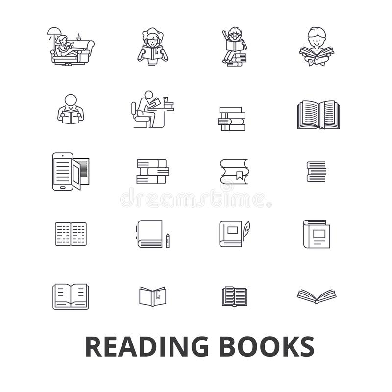 Los libros, libro abierto, pila de libros, estante, biblioteca, leyeron, libro de lectura, línea de papel iconos Movimientos Edit libre illustration