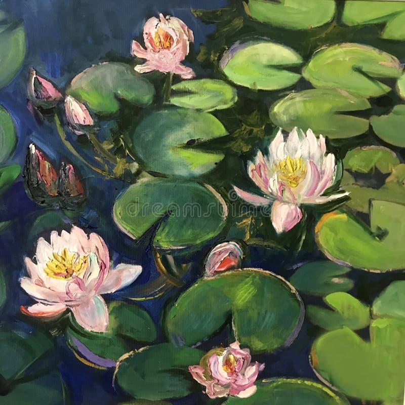 Los lirios de agua florecieron en el lago ilustración del vector