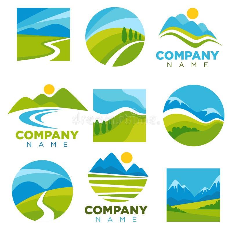 Los logotipos del paisaje fijaron con el espacio para el nombre de compañía ilustración del vector