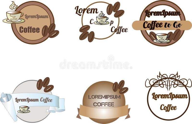 Los logotipos, las insignias y las etiquetas de la cafetería diseñan el sistema de elementos Taza, habas ilustración del vector