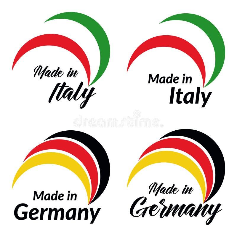 Los logotipos simples hechos en Italia, hecha en Alemania, vector logotipos con las banderas italianas, alemanas libre illustration