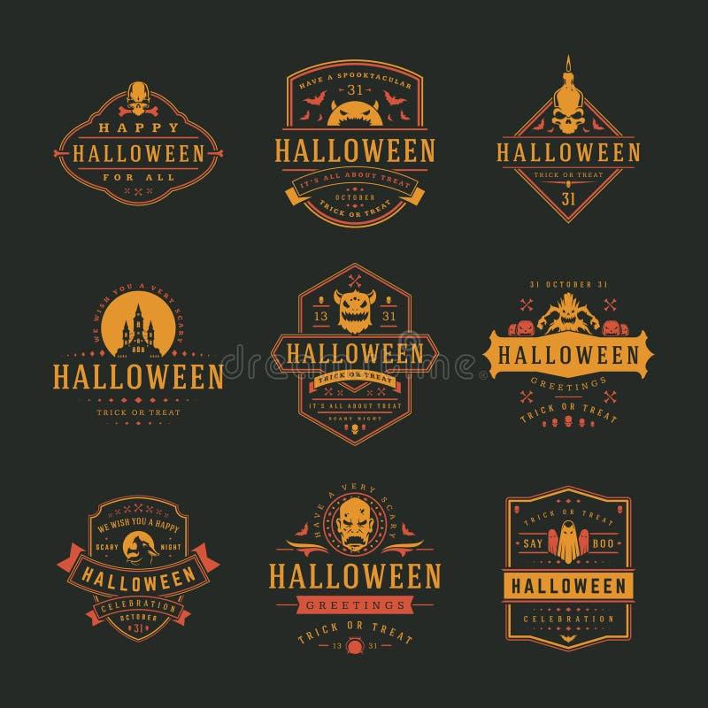 Los logotipos y las insignias de la celebración de Halloween diseñan el ejemplo determinado del vector ilustración del vector