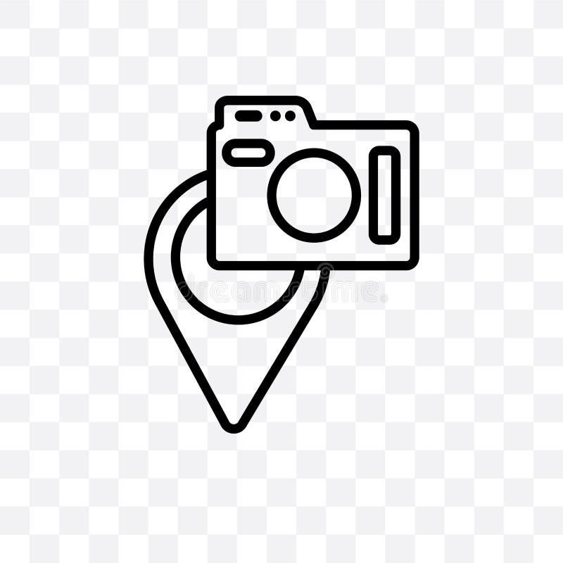 Los lugares para fotografiar el icono linear del vector aislado en el fondo transparente, lugares al concepto de la transparencia ilustración del vector
