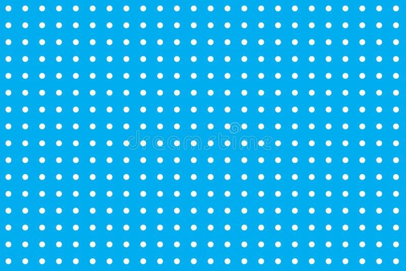 Los lunares blancos circundan circunferencias en un modelo inconsútil contra un color en colores pastel de los azules cielos con  stock de ilustración