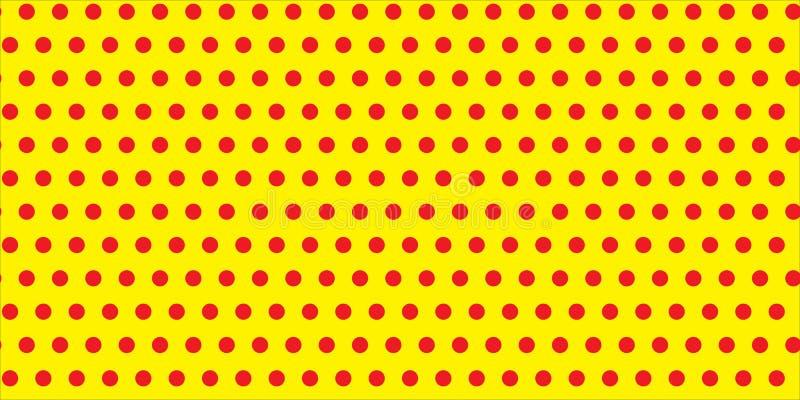 Los lunares rojos circundan circunferencias en un modelo infinito inconsútil contra textura geométrica del fondo vacío amarillo d ilustración del vector