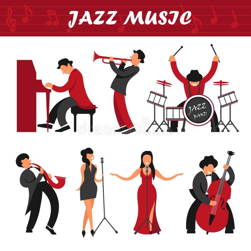 Los músicos de banda de la música de jazz y la gente del ejecutante de los cantantes vector los iconos que tocan los instrumentos ilustración del vector