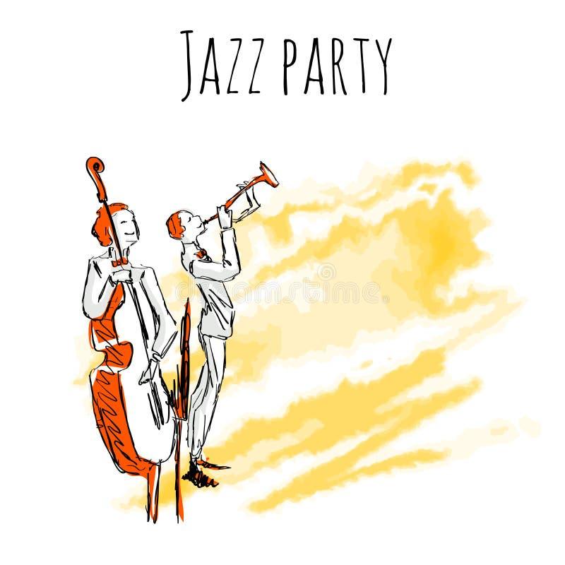 Los músicos de jazz juegan la trompeta y el contrabajo en un fondo de la acuarela Plantilla del cartel del partido del jazz del v stock de ilustración