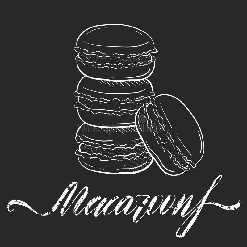 Los macarrones se apelmazan, ejemplo del vector aislado en estilo oscuro del bosquejo del fondo Bocado, pila de macarons Clipart  stock de ilustración