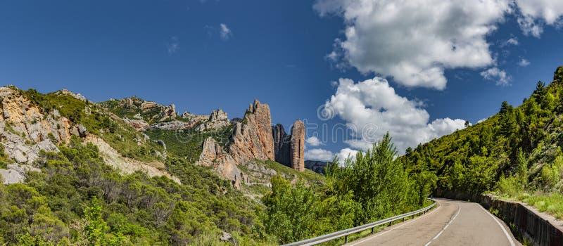 Los Mallos de Riglos rocks at Husesca stock photos