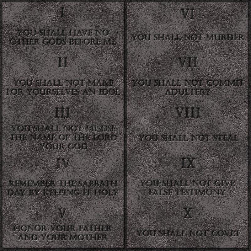 Los 10 mandamientos realistas de dios writed en texto inglés en las tabletas de las piedras imagenes de archivo