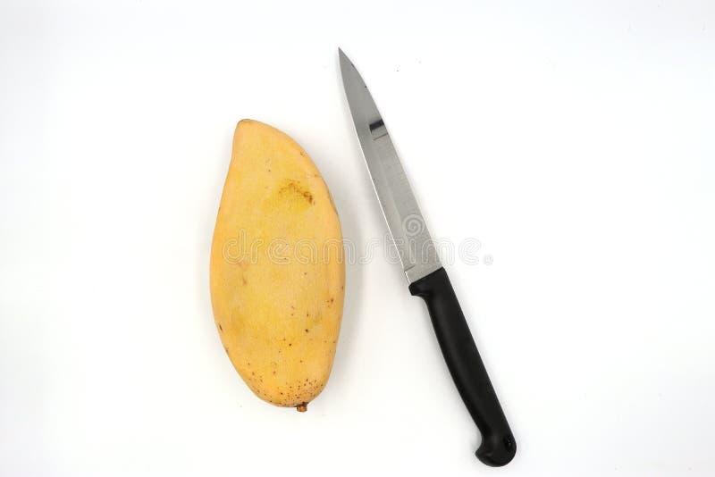 Los mangos maduros, mango amarillo con el cuchillo preparan la cáscara aislada en fondo negro imagenes de archivo