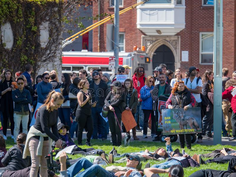 Los manifestantes montan para una reunión de la anti-piel en San céntrico Fra fotografía de archivo