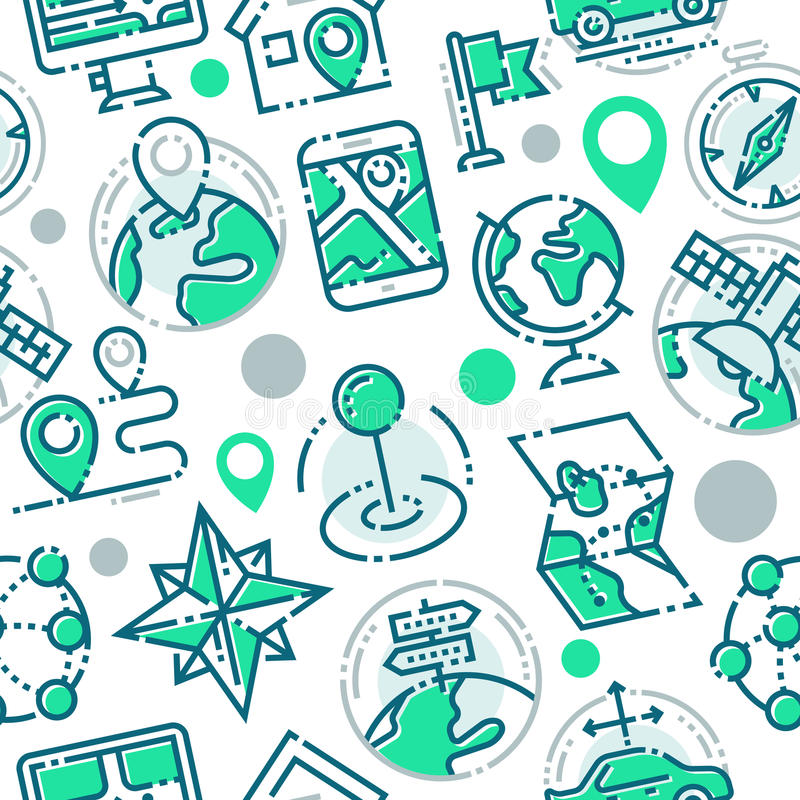 Los mapas de la dirección de la navegación firman tráfico y una línea más fina iconos fijados vector el modelo inconsútil libre illustration