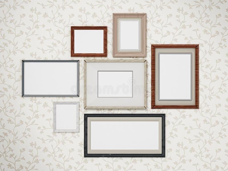Los marcos arreglaron en la pared 3D dimensional libre illustration