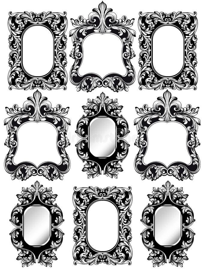 Los marcos barrocos fijaron la decoración Los ricos detallados adornaron el marco Línea gráfica artes del ejemplo del vector libre illustration