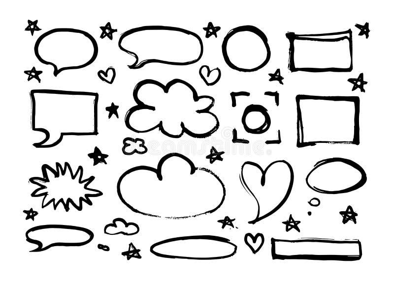 Los marcos a mano, fronteras, burbujas del discurso, estrellas, corazones fijaron aislado en el fondo blanco stock de ilustración