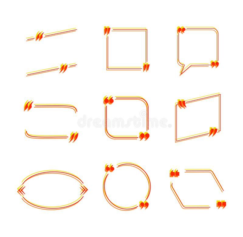 Los marcos simples coloridos de la cita del vector, plantillas negras de los elementos del diseño aisladas, las fronteras decorat libre illustration
