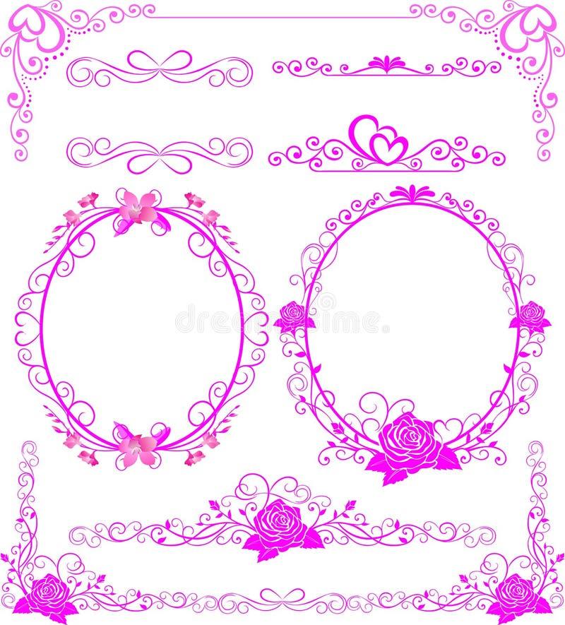 Los marcos y las fronteras decorativos del vintage fijaron, marco de la foto con la línea de la esquina ilustración del vector