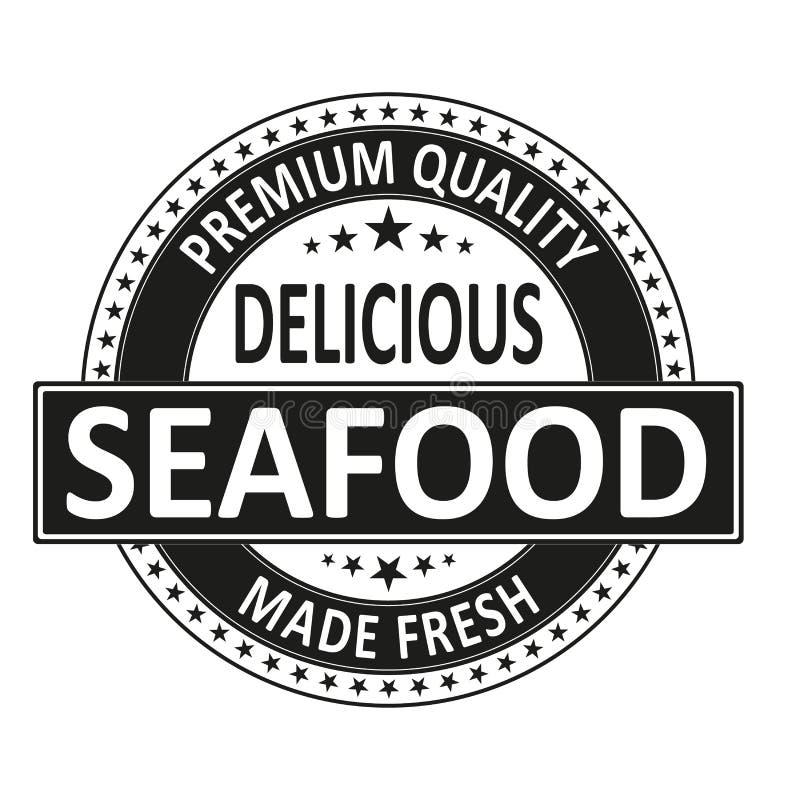 Los mariscos deliciosos de la calidad superior hicieron el sello fresco de la insignia ilustración del vector