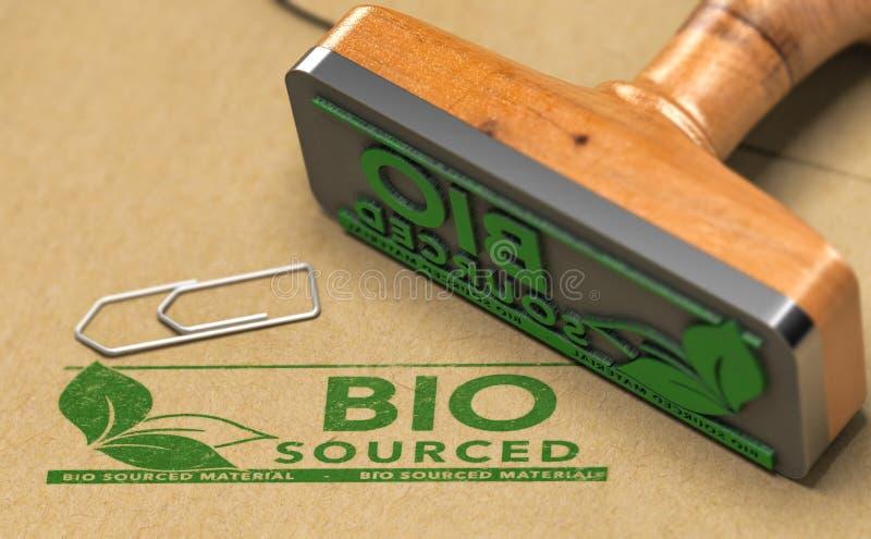 Los materiales de Biosourced etiquetan Bio basó productos imágenes de archivo libres de regalías