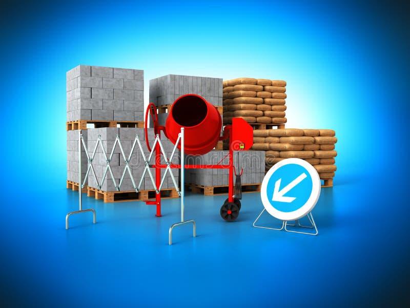 Los materiales de construcción 3d rinden en fondo azul libre illustration