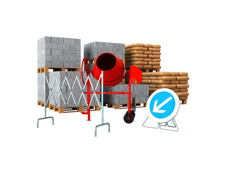 Los materiales de construcción que 3d rinden encendido no escriben a fondo ninguna sombra stock de ilustración