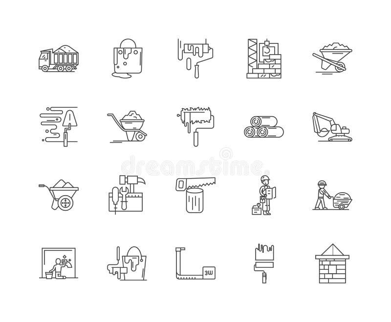 Los materiales de la estructura alinean los iconos, muestras, sistema del vector, concepto del ejemplo del esquema stock de ilustración