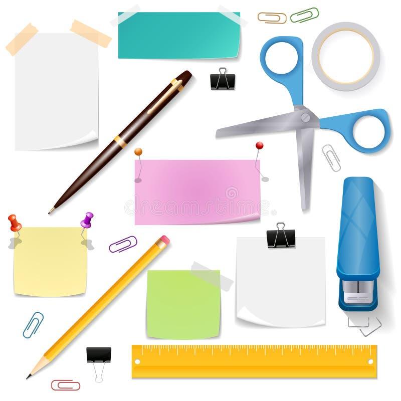 Los materiales de oficina vector el sistema stock de ilustración
