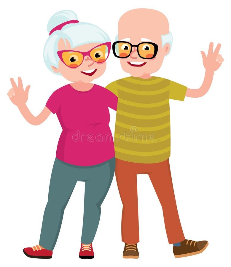 Los mayores felices juntan el marido y a la esposa que se colocan en un abrazo stock de ilustración