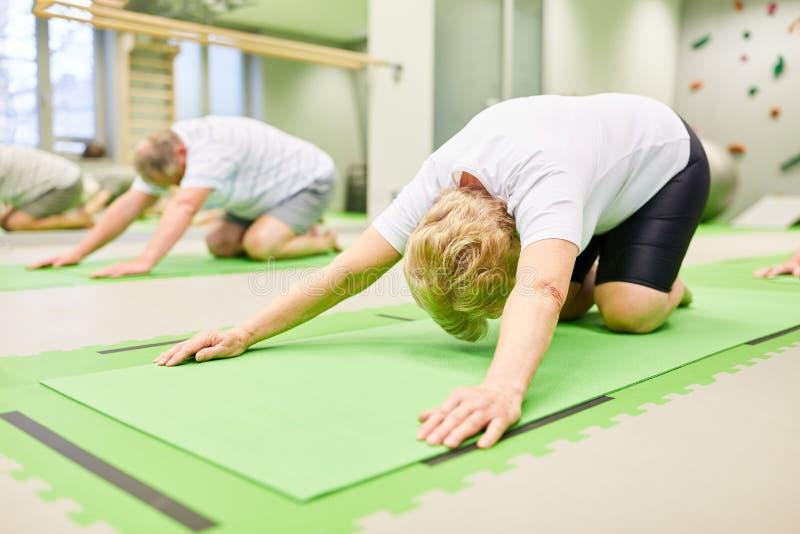 Los mayores hacen estirar el ejercicio para la parte posterior imágenes de archivo libres de regalías