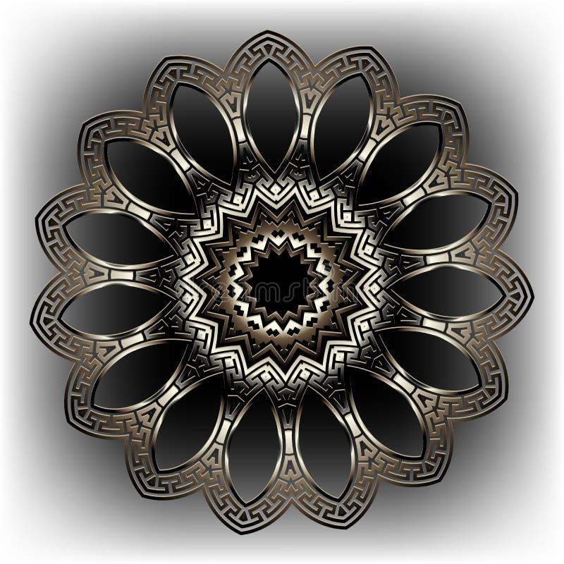 Los meandros dominantes griegos redondean el modelo floral de la mandala 3d Fondo griego ornamental del estilo Contexto adornado  libre illustration