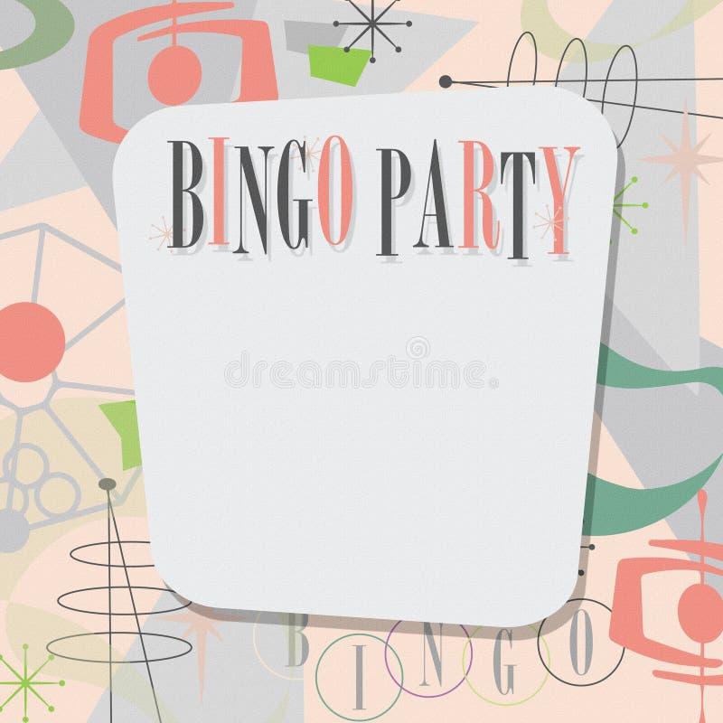 Los mediados de siglo de la invitación del partido del bingo modernos se refrescan ilustración del vector