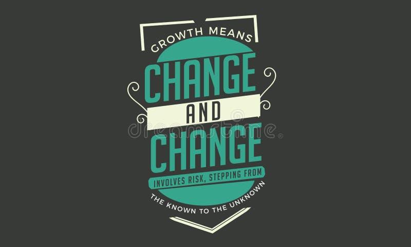 Los medios del crecimiento cambian y el cambio implica el riesgo, caminando del sabido al desconocido libre illustration