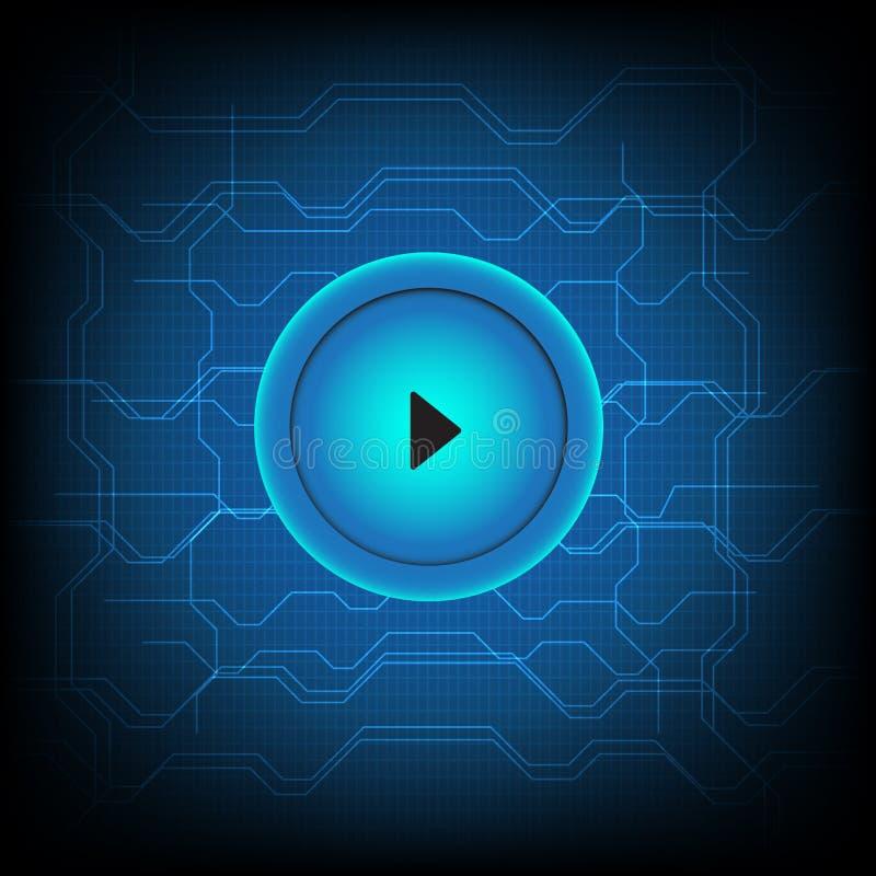 Los medios del juego del botón conectan el fondo abstracto de la tecnología libre illustration