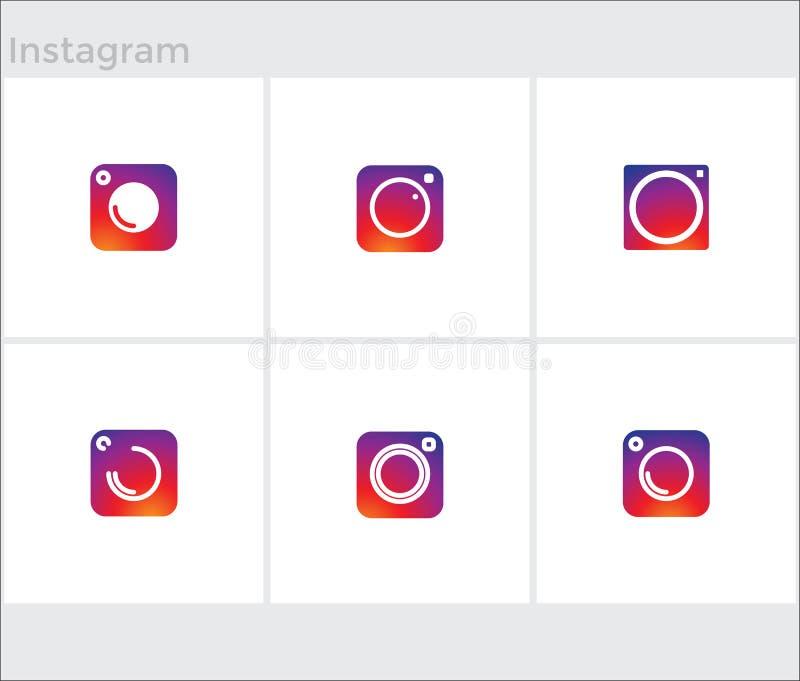 Los medios iconos sociales fijaron, instagram de la cámara de la foto stock de ilustración