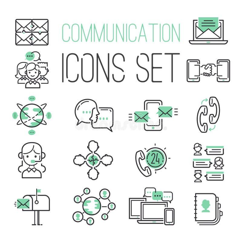 Los medios símbolos del contacto de la red de ordenadores del verde del negro del web de Internet y el medios negocio llaman por  ilustración del vector