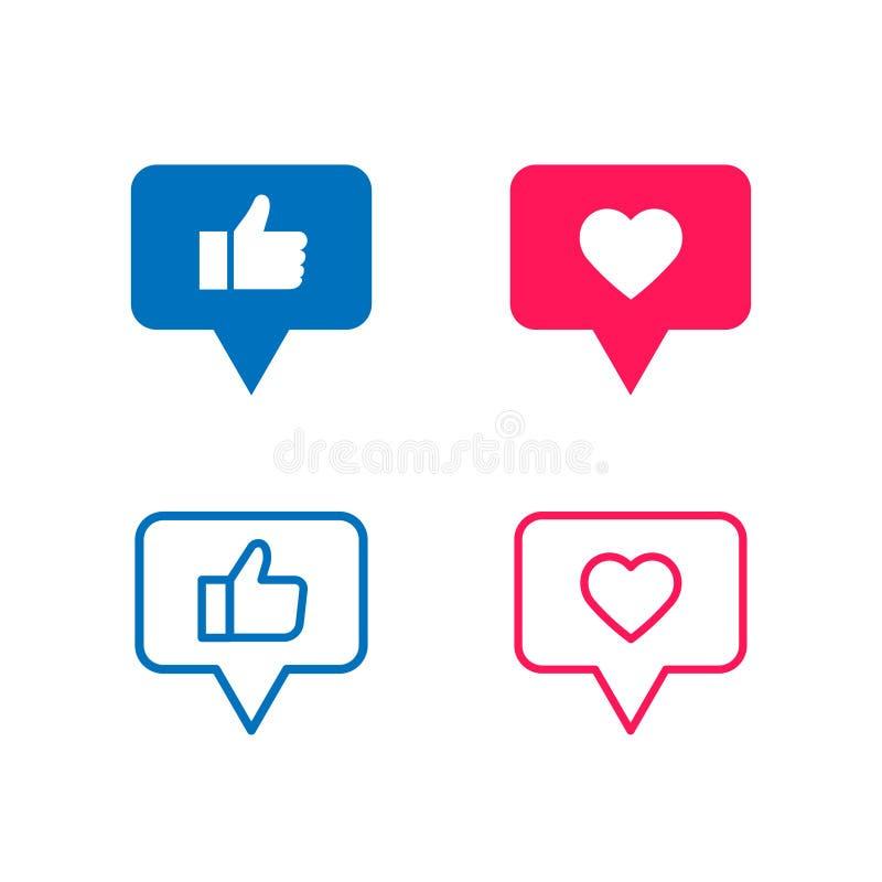 Los medios sociales del vector les gusta el icono colorido ilustración del vector