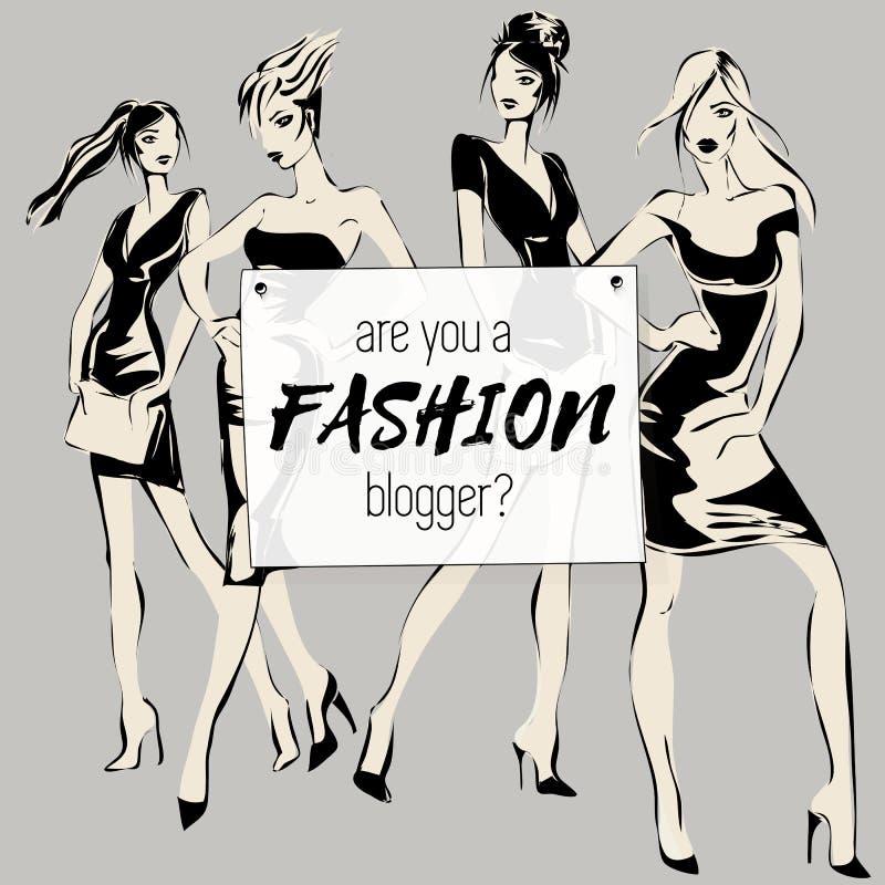 Los medios sociales forman la bandera con los modelos de la mujer de la belleza, son usted blogger de la moda, colección de la pl stock de ilustración