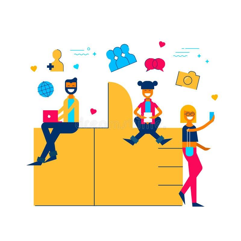 Los medios sociales les gusta concepto del icono con la gente en línea libre illustration