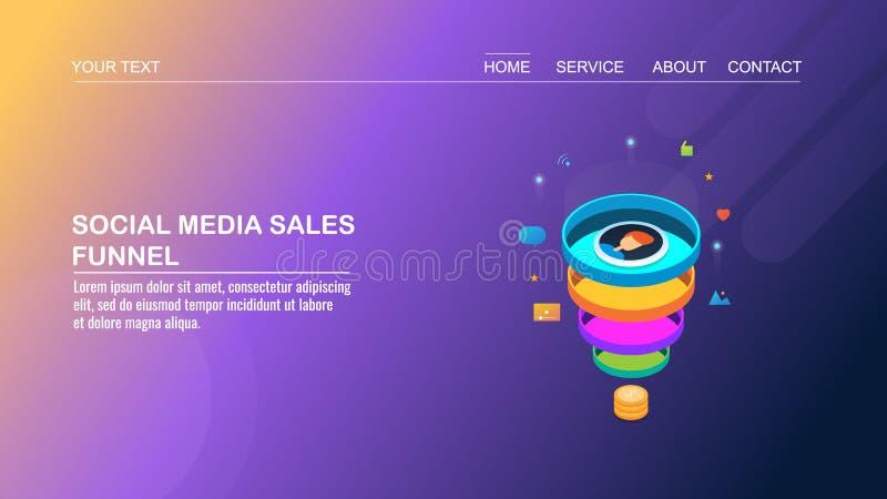 Los medios sociales, optimización de la conversión, ventas concentran, márketing digital, llevan concepto isométrico de la genera ilustración del vector