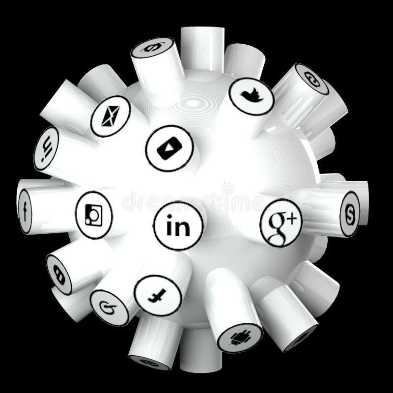 Los medios sociales, red social, Internet conectan el ejemplo 3d libre illustration