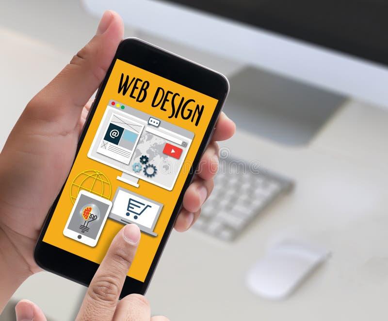 Los medios WWW del software del diseño web y el sitio web diseñan el web responsivo imagenes de archivo