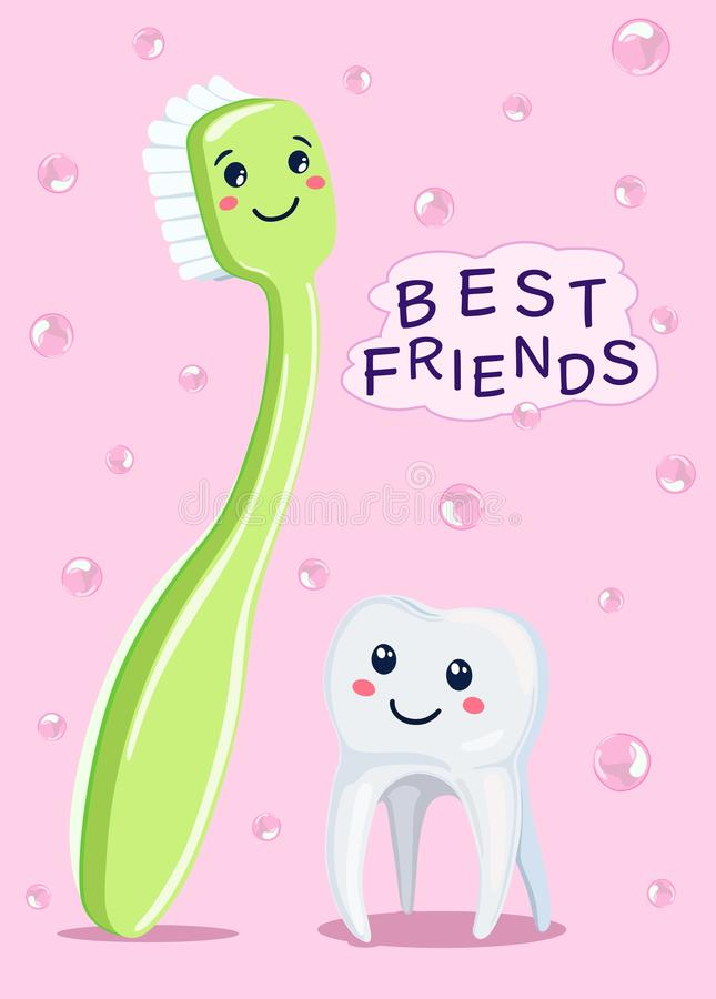 Los mejores amigos de dientes son cepillo de dientes Ilustración del vector libre illustration