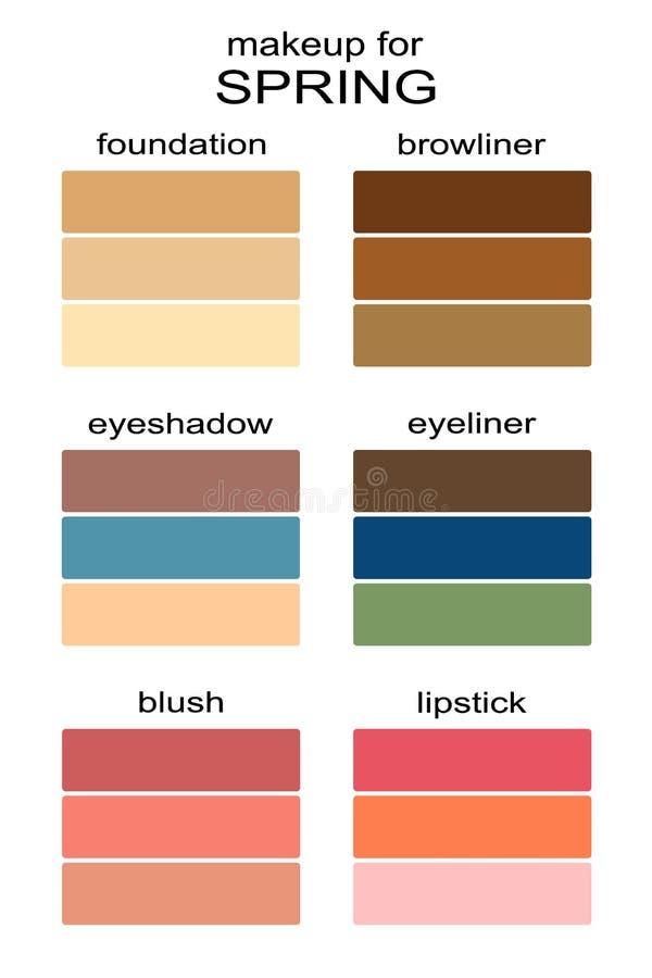 Los mejores colores del maquillaje para el tipo de la primavera de aspecto ilustración del vector