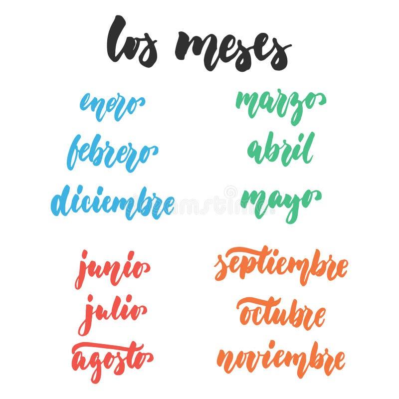 Los-meses - Monate auf spanisch, Hand gezeichnetes lateinisches Beschriftungszitat lokalisiert auf dem weißen Hintergrund Spaßbür vektor abbildung